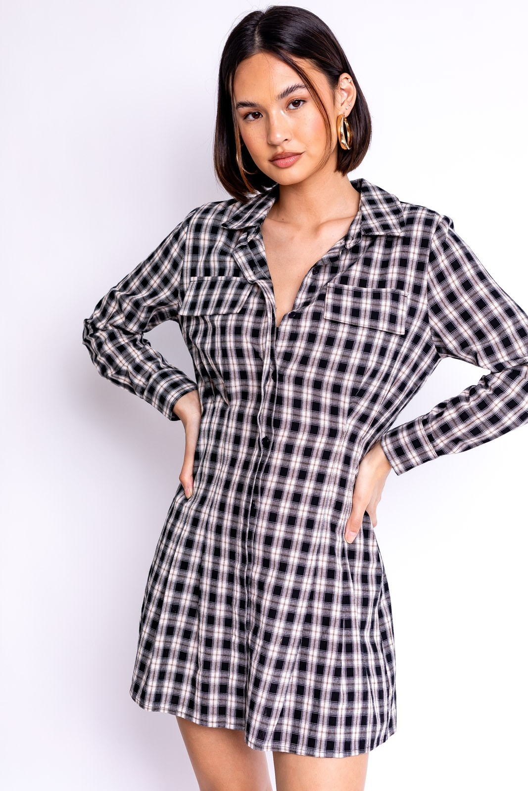 Checked Out Shirt Dress