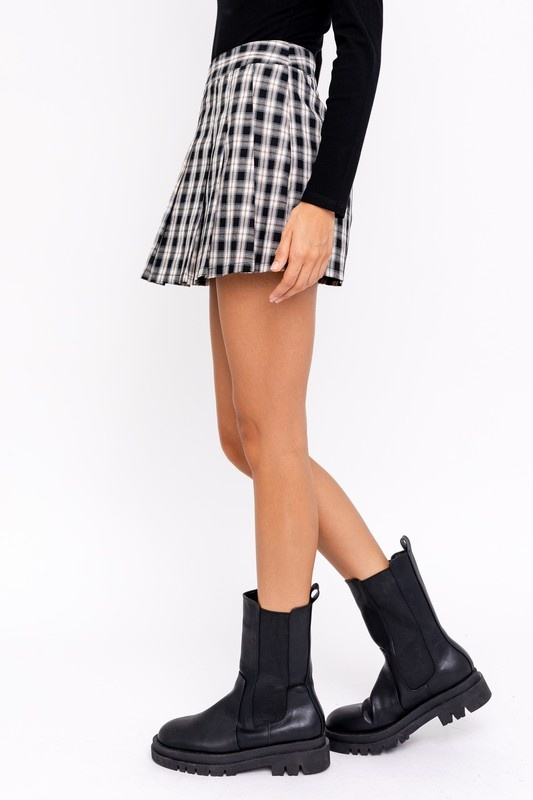 Checked Out Pleated Skort