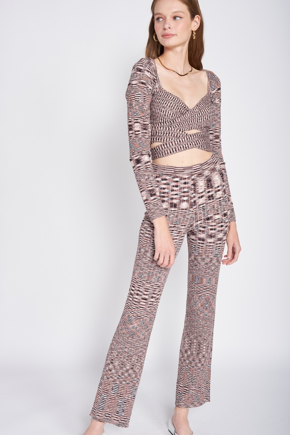 Pixelated Knit Wrap Top