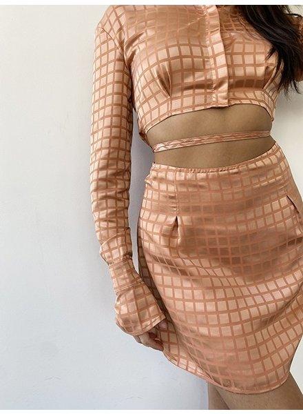 Check It Satin Mini Skirt