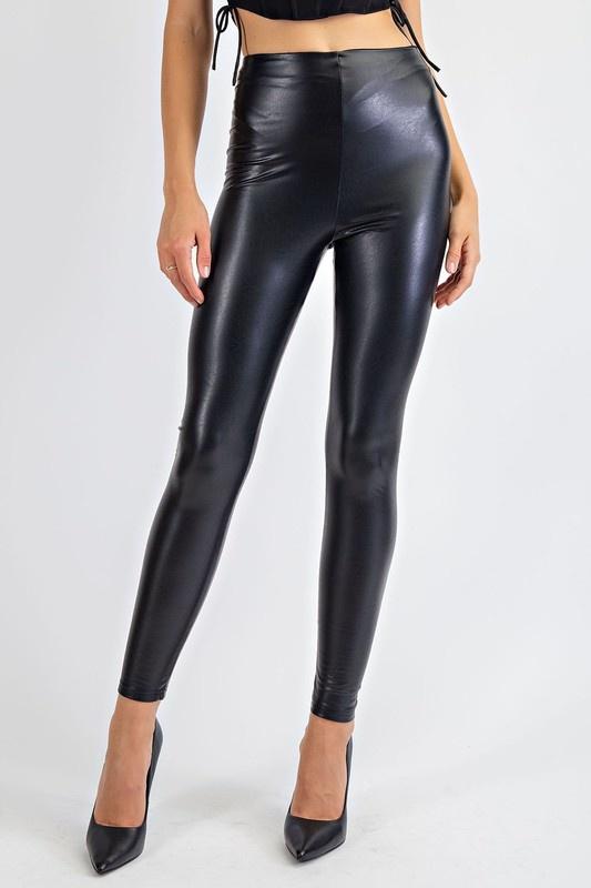 High Shine Faux Leather Pants