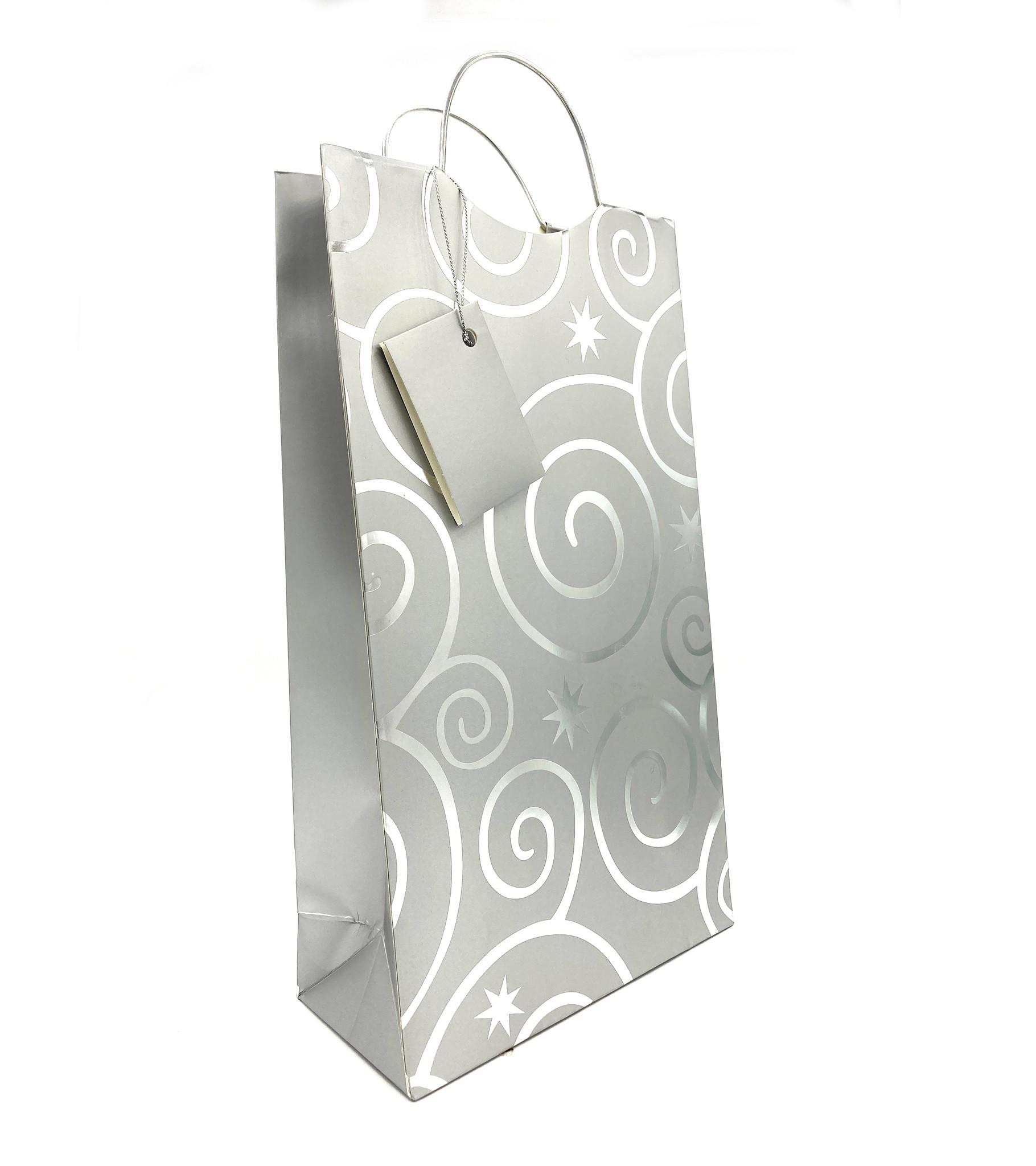 Pattern 2-Bottle Wine Bag Silver