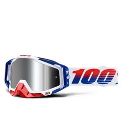 100% GOOGLE 100% RACECRAFT PLUS LE MXDN RED WHT BLU SILVER