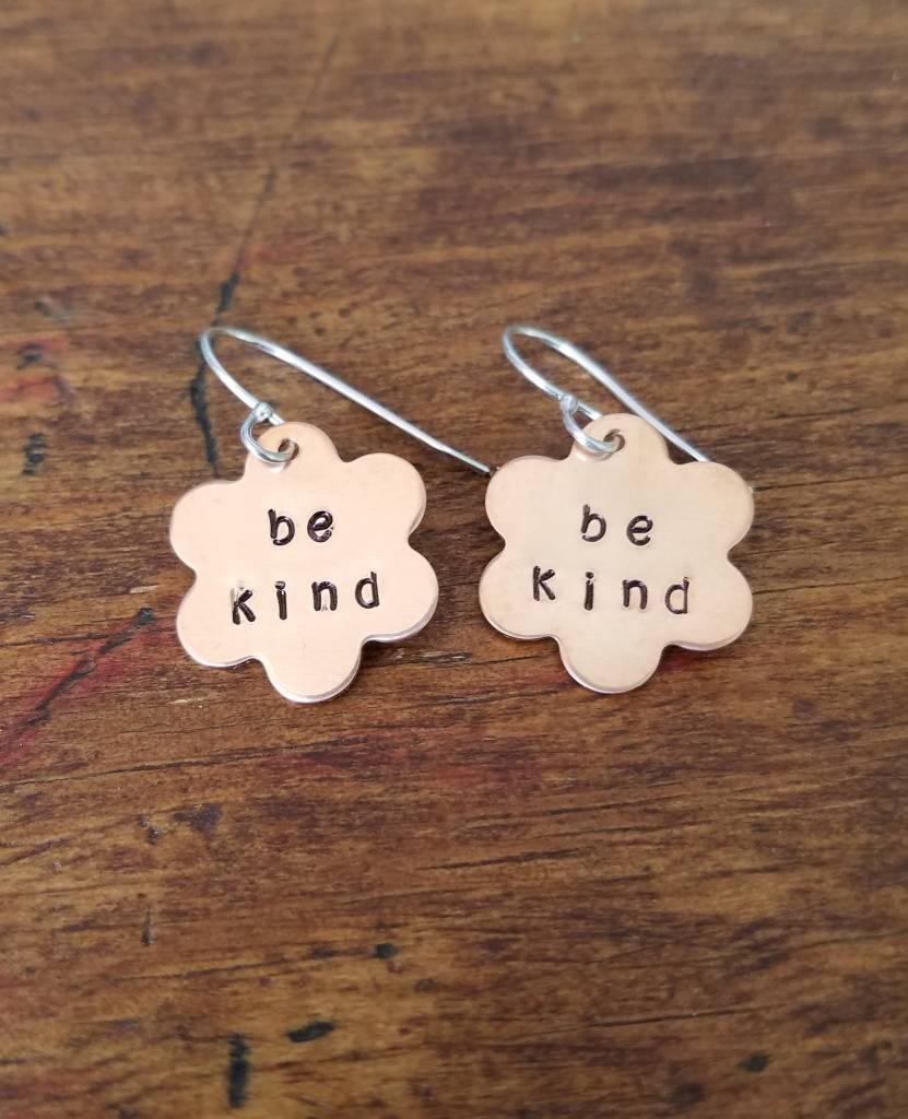 """Copper """"Be Kind"""" Flower Earrings"""