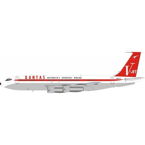 B707-100 QANTAS V-Jet (John Travolta) N707JT polished 1:200 With Stand