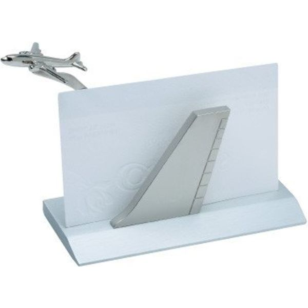 Business Card Holder Airplane Tail Silver