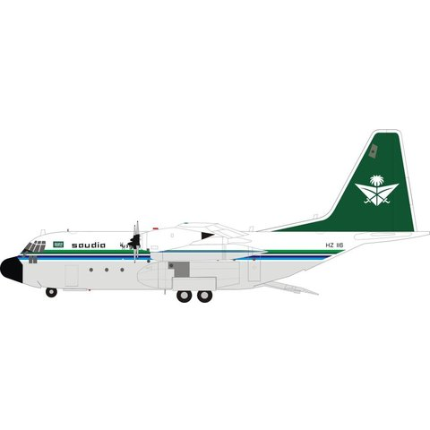 C130H Hercules L382 Saudi Arabian Royal Flight HZ-116 1:200 with Stand
