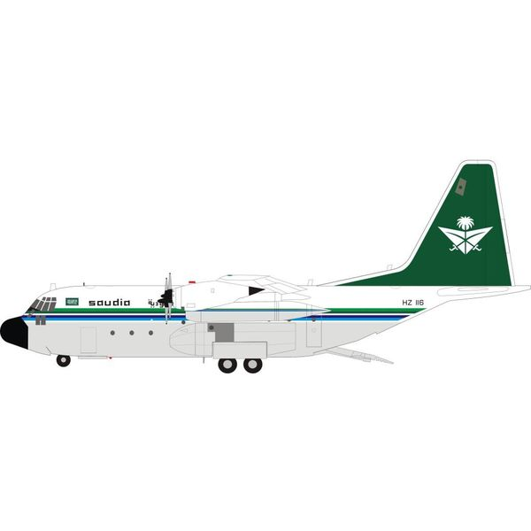 InFlight C130H Hercules L382 Saudi Arabian Royal Flight HZ-116 1:200 with Stand