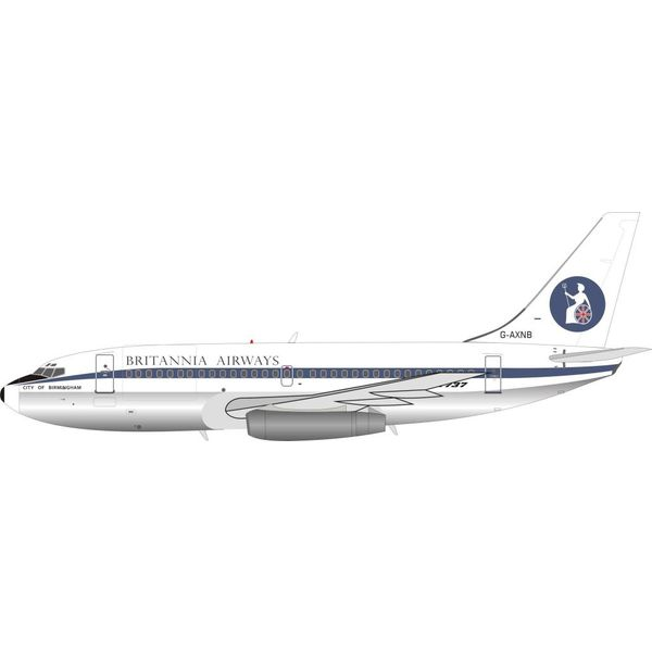 InFlight B737-200 Britannia Airways G-AXNB 1:200 with stand