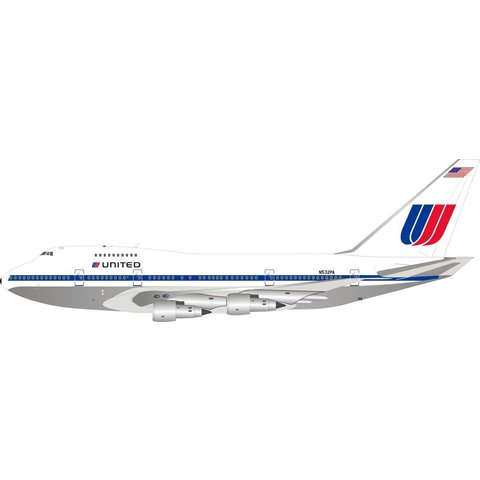 B747SP United Airlines Saul Bass Livery N532PA 1:200 polished with stand