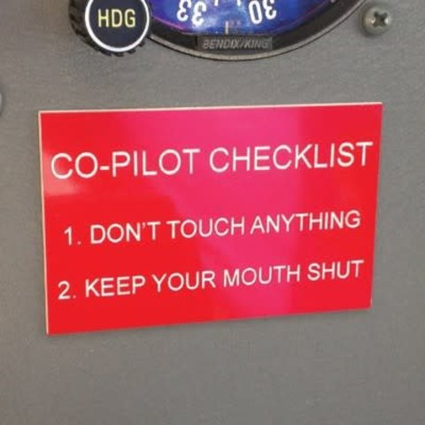 Co-Pilot Checklist Placards Humerous