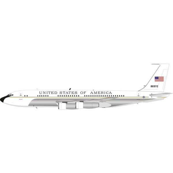 InFlight VC137B / B707-153B US Air Force USAF 58-6972 white livery 1:200 with stand Polished