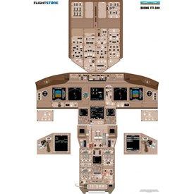 Aviation Training Graphics Laminated Cockpit Training Poster B777-300