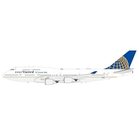 B747-400 United 2010 livery 747 Friendship Final Flight N118UA 1:200 with stand