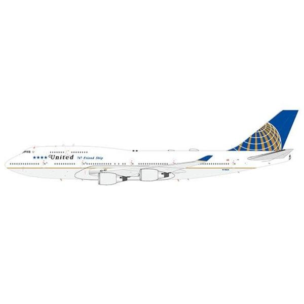 JC Wings B747-400 United 2010 livery 747 Friendship Final Flight N118UA 1:200 with stand