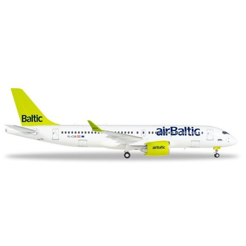 A220-300 Air Baltic YL-CSB (CSeries CS300) 1:200 with stand+gear