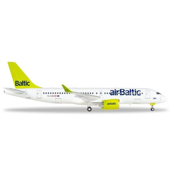 Herpa A220-300 Air Baltic YL-CSB (CSeries CS300) 1:200 with stand+gear