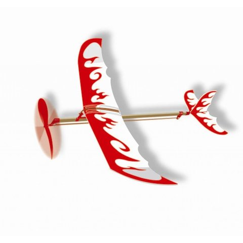 Thunder Bird Rubber Band Wind Up Glider red/white flames