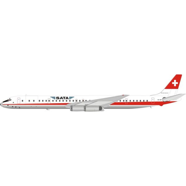 InFlight DC8-63 SATA Swissair Hybrid HB-IDM 1:200 with stand polished