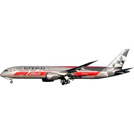 InFlight B787-9 Dreamliner Etihad A6-BLV F1 Special Livery 1:200 with stand