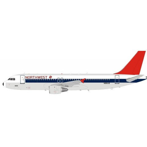 A320 Northwest Airlines red tail N301US 1:200 with stand