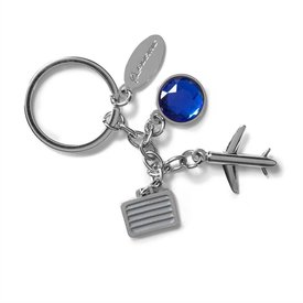 Boeing Store Airplane and Suitcase Charm Keychain