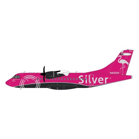 ATR42-600 Silver Airways Pink Flamingo N400SV 1:200 with stand