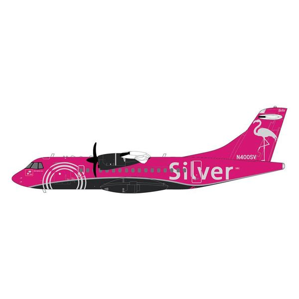 Gemini Jets ATR42-600 Silver Airways Pink Flamingo N400SV 1:200 with stand