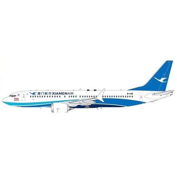 JC Wings B737 MAX8 Xiamen Airlines 2000th Boeing for China B-1136 1:400 with antennae