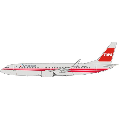 B737-800W American Airlines TWA Poly Retro Livery N915NN 1:200 With Stand