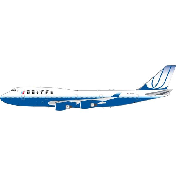 InFlight B747-400 United Airlines 2003 Blue Tulip Livery N171UA  1:200 With Stand