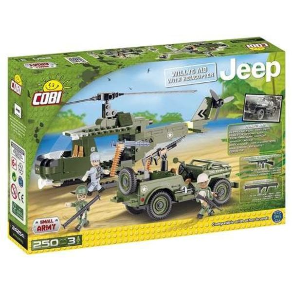 Cobi Helicopter with Willys Jeep Small Army Cobi 250 pieces 3 figures