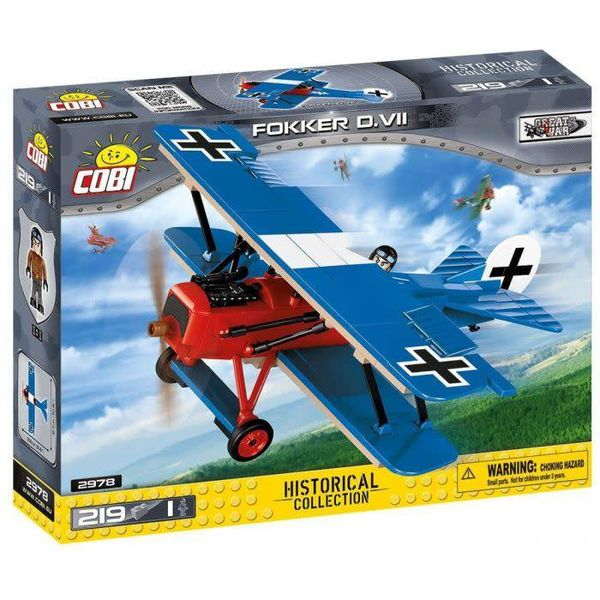Cobi Fokker DVII German Blue/Red Historical Collection Cobi Construction Toy 219 pieces