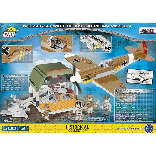 Cobi Messerschmitt Bf109 Tropical Luftwaffe African Mission with Hangar Historical Collection Cobi Construction Toy 500 pieces
