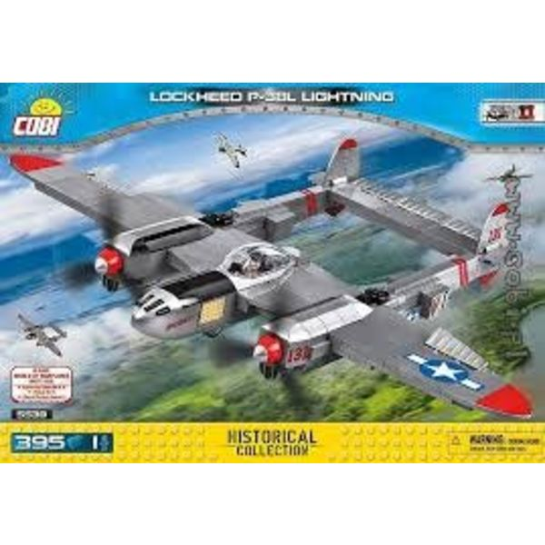 Cobi P38 Lightning USAAF Silver Historical Collection Cobi Construction Toy 395 pieces 1 figure