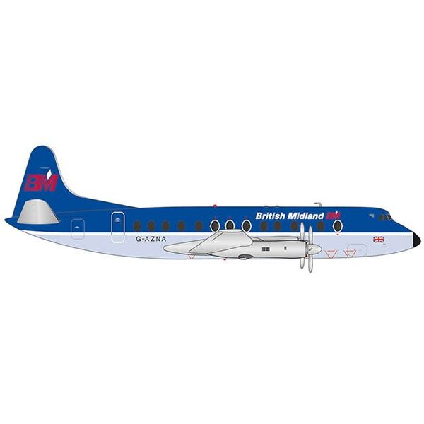Herpa Viscount 800 British Midland Final Livery G-AZNA 1:200 with stand