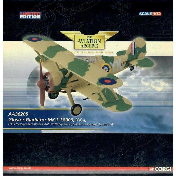 Corgi Gladiator Mk.I 80 Squadron RAF F/O Wykeham-Barnes L8009 YK-I Sidi Barrani Egypt 1940 1:72 with stand**o/p**