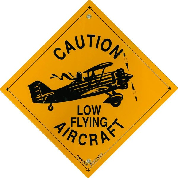 Metal Sign, Caution Low Flying Aircraft