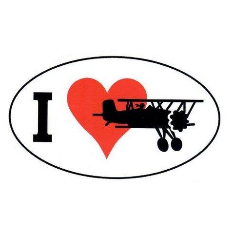 I Love Flying Oval Sticker