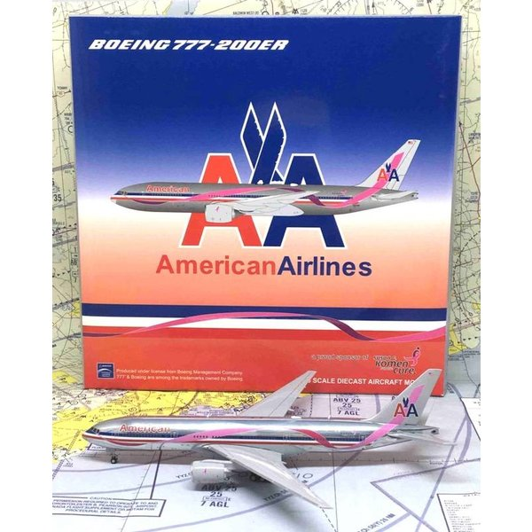 JC Wings B777-200ER American Airlines Breast Cancer Awareness N7379E 1:400 with antennae