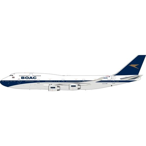 B747-400 British Airways BOAC Retro Blue Tail #BA100 G-BYGC 1:200 with Stand