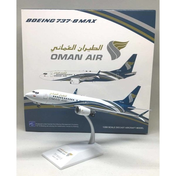 JC Wings B737 MAX8 Oman Air A40-MA 1:200 with stand