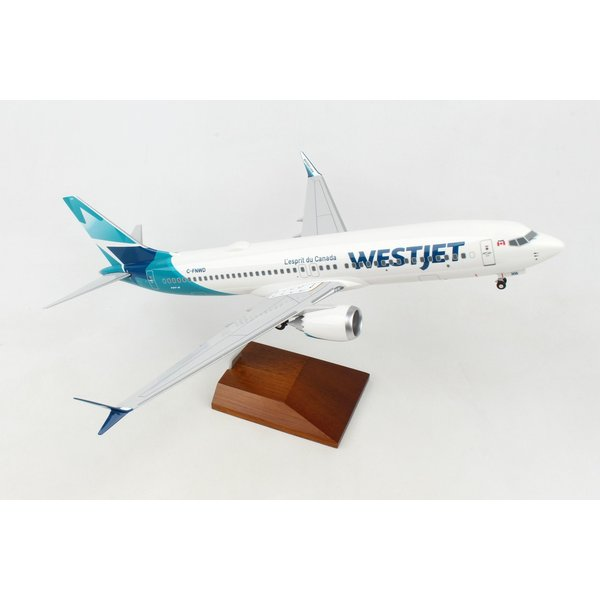Skymarks Supreme B737 MAX 8 WestJet New Livery 2018 C-FNWD 1:100 with Gear + Wood Stand