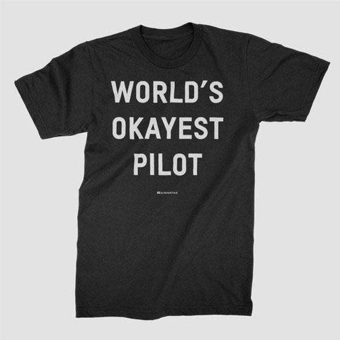 World's Okayest Pilot Tee Black