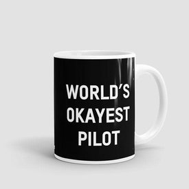 Airportag Mug World's Okayest Pilot Black 11 oz