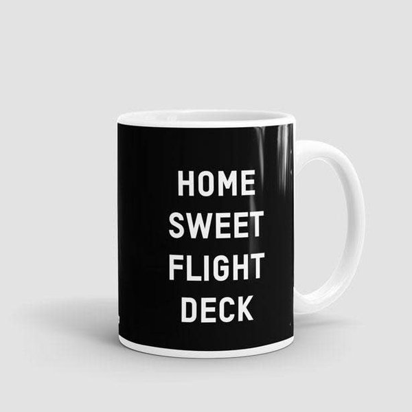 Airportag Mug Home Sweet Flight Deck Black 11 oz