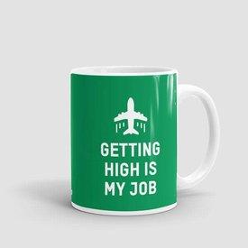 Airportag Mug Getting High Is My Job Green 11 oz