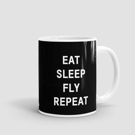 Airportag Mug Eat Sleep Fly Black 11 oz