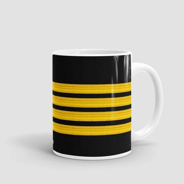 Airportag Mug Black Pilot Stripes4-Gold 11 oz