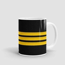 Airportag Mug Black Pilot Stripes3-Gold 11 oz